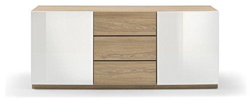 Madia 3 Compartiments Double Porte et 3 tiroirs Blanc laqué Brillant et chêne cm 180 x 48 x 48 Collection Jour Marina