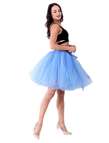 Honeystore Damen's Vintage Tüllrock Prinzessin Falten Rock Tutu Petticoat Ballettrock Unterrock Pettiskirt One Size Hellblau (Diy Disney Prinzessin Kostüme)