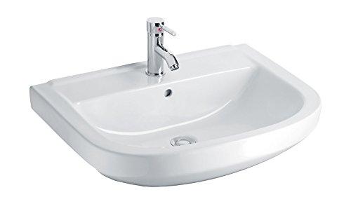 Waschtisch luCanto | 60 cm | Weiß | Waschbecken | Waschplatz | Keramik | Mit Überlaufschutz | Design | Bad | Badezimmer | Gäste-WC