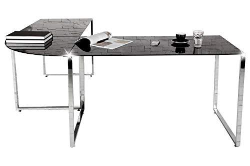 Eckschreibtisch schwarz Glas Schreibtisch Office Design Büro Möbel Tisch Chrom (Glas-schreibtisch Büro)