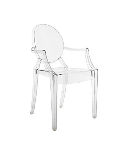 Louis Philippe Stuhl (Kartell Louis Ghost Chairs 4852B4 55x54x93 cm, Transparent Pack of 2)