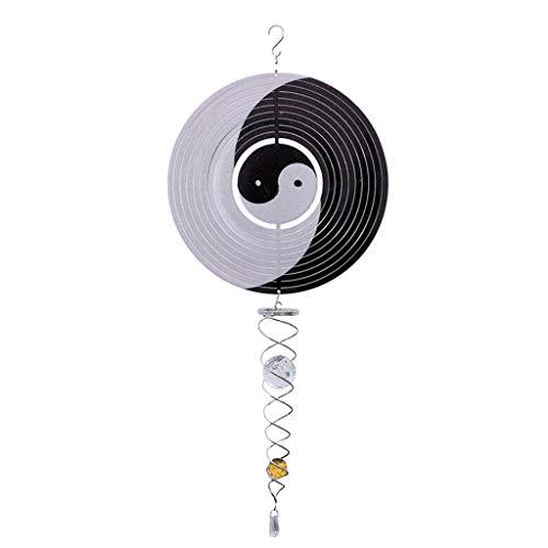 B Blesiya 3D Windspiel/Windspirale / Windspinner mit Kugelspirale, perfekt für Home Balkon Garten Deko - Yin und Yang