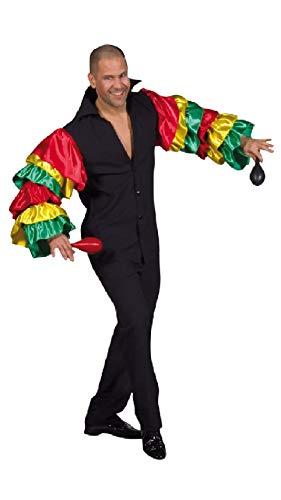 M210207-M schwarz-bunt Herren Rio Hemd Samba Hemd Gr.M (Flamenco Tänzerin Kostüm Männer)