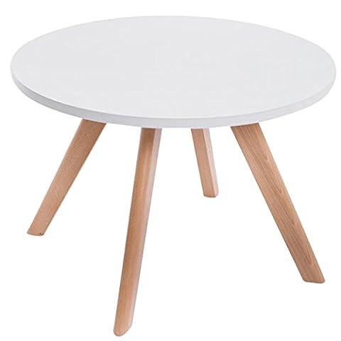 Designer Beistelltisch aus Naturholz massiv, runder Couchtisch (60x60cm) mit schrägen Holzbeinen, universeller Tisch in sehr hoher Qualität mit