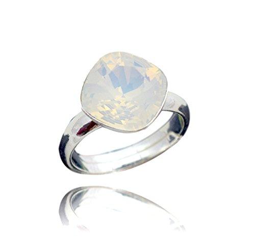 Crystals & Stones 925 Silber Ring *RHOMBUS SQUARE* *Aquamarine* Swarovski Elements - 925 Sterling Silber Damen Ring Größe Verstellbar (White Opal) (Echter Opal Ring Größe 7)
