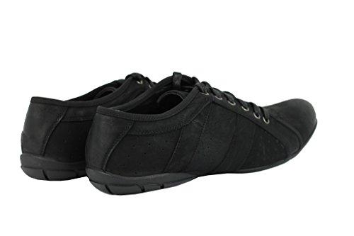 Pour Homme En Daim Synthétique Marron clair Casual Slim en cuir noir à lacets Baskets plates Chaussures de travail Noir - noir