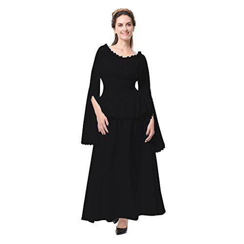 Kostüm Barbie 60er - Damen Mittelalterliche Kleid mit Trompetenärmel Mittelalter Party Kostüm Maxikleid