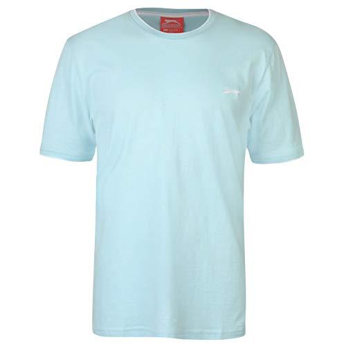 Slazenger Herren Tipped T Shirt Kurzarm Rundhals Tee Top Bekleidung Kleidung Hell Blau XXXXL