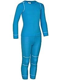 icefeld® - atmungsaktives Thermo-Unterwäsche Set für Kinder - warme Wäsche aus langärmligem Oberteil + Langer Unterhose (ÖkoTex100) in blau, Marine, pink oder schwarz