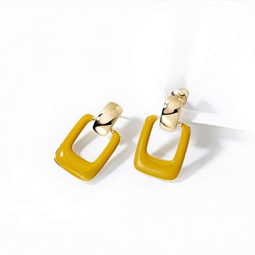 Hengyedianlijishu Orecchini Pendenti Geometrici con Ago in Argento 925 E Temperamento Femminile di Alta qualità,Yellow