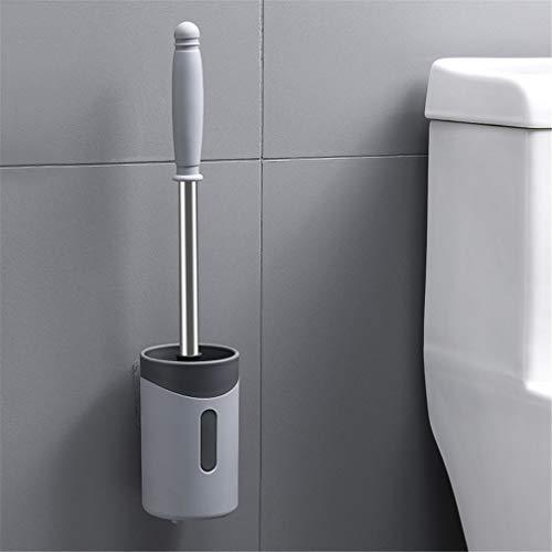LHY BATHLEADER Toilettenbürste, Wandmontierte Kunststoff Edelstahl Abnehmbare Bad Loo Bürste und Halterung, Reinigungsbürste mit langem Griff,Gray Gray Griff