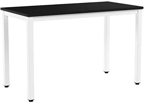 VASAGLE Schreibtisch, großer Computertisch, stabiler und schöner Bürotisch, mit großer Arbeitsfläche, PC-Tisch für Home Office, leicht montiert, 120 x 76 x 60 cm (B x H x T), Schwarz, Weiß LWD64B