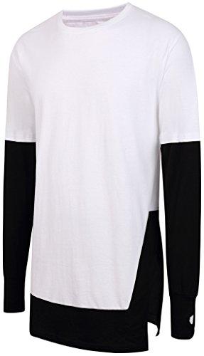 Pizoff Unisex Hip Hop Urban Basic langes T Shirts mit Kontrast Einsatz Design Y1738-03