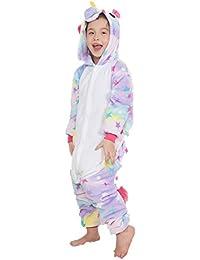 KiKa Monkey Kinder Einhorn-Karikatur-Flanell-Tierneuheit-Kostüme Cosplay Pyjamas