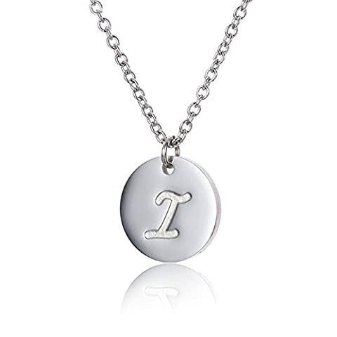 AOLOSHOW Stainless Steel Tiny Initial Disc Charm Necklace for Children I