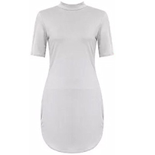 Sofias Closet Damen Celeb Inspiriert Kurve Saum Half Sleeve Stretch Figurbetont Kleid Gr. Weiß - Weiß