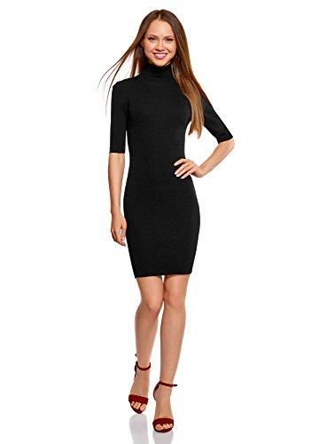 oodji Ultra Mujer Vestido de Punto con Escote Gota en la Espalda, Negro, ES 42 / L