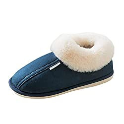 DAIFINEY Herren Hausschuhe Warm Gefüttert Bequem Pantoffeln Kuschelige Home Indoor Outdoor Slippers Freizeit rutschfeste Slip On Schuhe Flacher Boden(Herren-Blau/Navy,40)