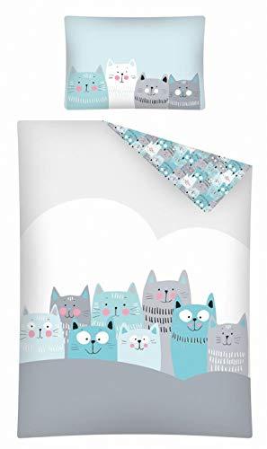 Kinderbettwäsche viele Designs 2-tlg. 100% Baumwolle 40x60 + 100x135 cm (Katze grau-mint)