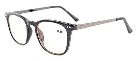 Eyekepper Lunettes ordinateur / de vue lunettes carrees en plastique metal Poid legers Homme Femme +2.00