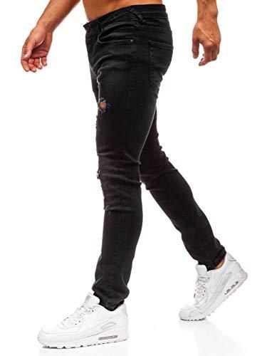 BOLF Herren Jeanshose Regular Streight Denim Destroyed Street Style Breezy 8007 Schwarz 31/34 [6F6] | 05902646911342