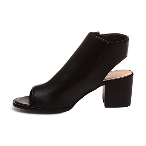 La Modeuse - Bottines peep toes femme en simili cuir dotées d'une ouverture au talon et au bout Noir