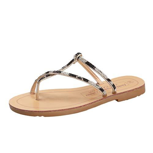 Kolylong Damen Schlangenleder Flip Flop Sandalen Hausschuhe Zehentrenner Sommerschuhe T-Strap Flache Sandaletten Gr 35-43 - Junior-mädchen-golf-schuhe