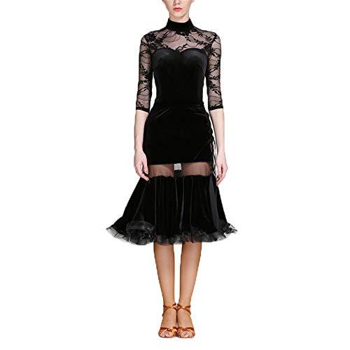 Wuxingqing Damen Jazz Latein Dance Kleid Frauen Fransen Quasten Ballsaal Samba Tango Latin Dance Dress Wettbewerb Kostüme Themen Party Swing Dress (Farbe : Schwarz, Größe : XL)