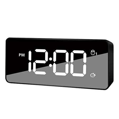 HaiQianXin Reloj Despertador Espejo Digital LED Reloj
