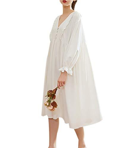 Camicia da notte pigiama premaman - vestito per maternità manica lunga pizzo ospedale (m)
