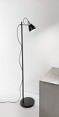 PERENZ Stehleuchte aus Metall schwarz und Chrom gebürstet 1 schwenkbarer Strahler Höhe 140 cm Leuchtmittel 1xE27 max. max. max. 40W nicht im Lieferumfang enthalten - Chrom-gebürstet Stehleuchte