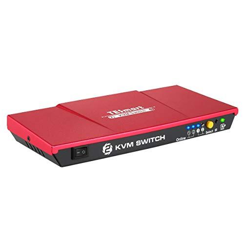 TESmart KVM Switch HDMI USB Coutatore 2 Porte e 2 Cavi HDMI USB 2 1 con Hub USB 2.0 4K 30Hz Ultra HD 1080P 3D per PC Monitor/Tastiera/Controllo del