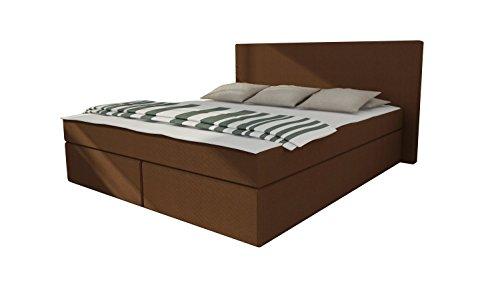 Design Boxspringbett Doppelbett Hotelbett Ehebett Hamburg 180 x 200 cm Webstoff Braun