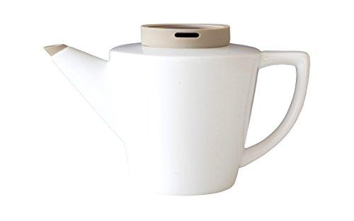 Viva Scandinavia 9101137 Theiere 1 Litre avec Couvercle en Silicone Kaki, Porcelaine, Blanc, 20,5 x 14,5 x 15 cm