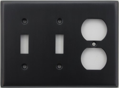 Light Switch Wall Plate (Classic Accents Stamped Steel Oil Rubbed Bronze Three Gang Wall Plate - Two Toggle Light Switch Openings One Duplex Outlet Opening by Classic Accents)
