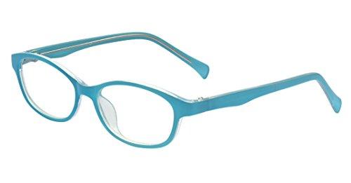 ALWAYSUV Rechteckig Klare Gläsern Optische Stärke Rahmen Brillenfassung Nerd Brille für Kinder von 3 bis 12 Jahre Blau