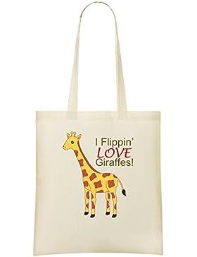 I Flippin Love Giraffes Slogan Kundenspezifische bedruckte Einkaufstasche - 100% weiche Baumwolle - umweltfreundliche...