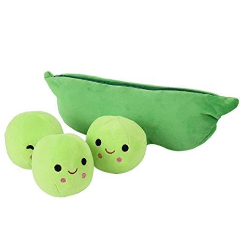 Comtervi PEA Pflanze Bohnen Plüschtier für Kinder 3 nettes Lächeln Ball Mit Beutel Plüsch Spielzeug Mädchen Jungen (3 Peas In A Pod Kostüm)