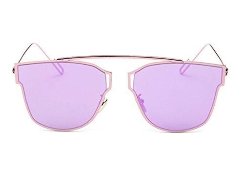 Sheli Rosa Katzenauge verspiegelte flache Linsen Metallrahmen Frauen Sonnenbrille UV400