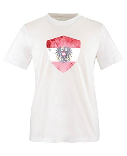 Comedy Shirts - Österreich Trikot - Wappen: Groß - Wunsch - Kinder T-Shirt - Weiss/Schwarz Gr. 134-146
