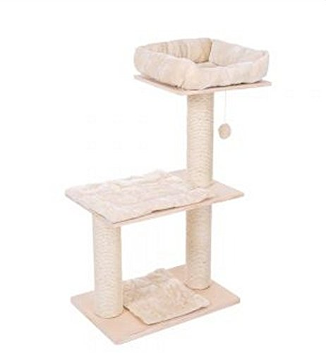 Simple Natural Wood Cat Tree With Thick Sisal Scratching Posts, Removable Cushions and Padded Sleeping Bed. In Neutral Cream Color and Slim Design.