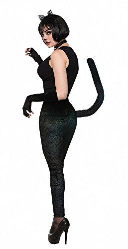 shoperama Schwarze Leggings mit Schwanz Gr. S/M Kostüm-Zubehör für Katze Cat SAMT Hose (Kostüm Mit Schwarzen Leggings)
