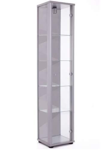 K-Möbel Glasvitrine Sammlervitrine Vitrine mit Beleuchtung in Alu Silber (Dekor) 176x37x33 cm mit 4 Glaseinlegeböden (Glas Schrank)