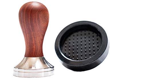 Tampello 51mm Tamper Holz (Rosenholzgriff) Set mit Silikonmatte - Kaffeestampfer für Siebträger mit Ablage - Espresso Tamper | Barista Zubehör thumbnail