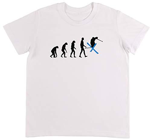 Snowboard 134cm (Evolution Ski Weiß T-Shirt Jungen Mädchen Größe M | Unisex Kids White T-Shirt Size M)