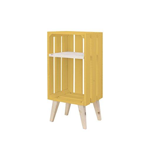 Decowood Box 3Lamas mit Ständer gelb, Holz, Braun, 30.5x 66,5x 25.5cm