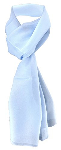 TigerTie Damen Chiffon Halstuch blau hellblau Uni Gr. 160 cm x 36 cm - Schal (Chiffon-schal Der Frauen)