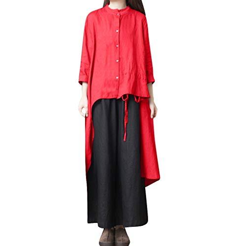 FRAUIT Retro Kleid Damen Lose T-Shirt Kleid Rundhals Casual Tunika Mini  Kleid Button Unregelmäßigkeit Bluse Leinen Langarm Shirt Kleid Tops 0d53151c70