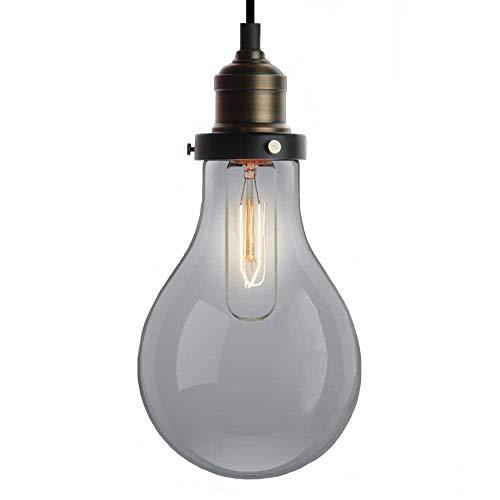 NIUYAO Lampada a Sospensione Vetro Forma del bulbo Vintage Industriale Lampadari Illuminazione per Interni 1 luce-Nero