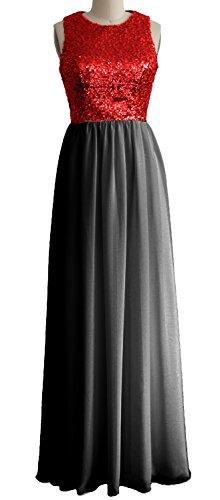 MACloth Women O Neck Sequin Chiffon Long Bridesmaid Dress Formal Evening Gown Red-Black